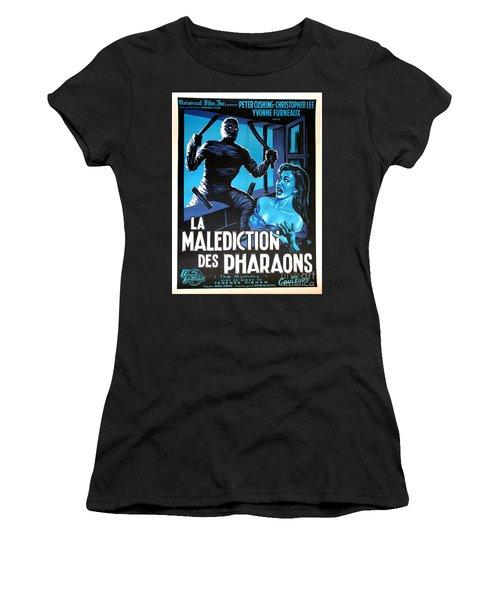 Hammer Movie Poster The Mummy La Malediction Des Pharaons Women's T-Shirt (Junior Cut) by R Muirhead Art