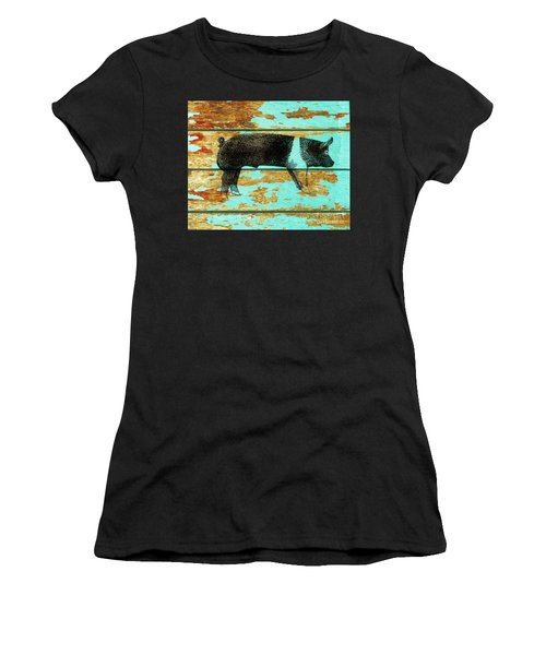 Women's T-Shirt (Junior Cut) featuring the drawing Hampshire Boar 1 by Larry Campbell