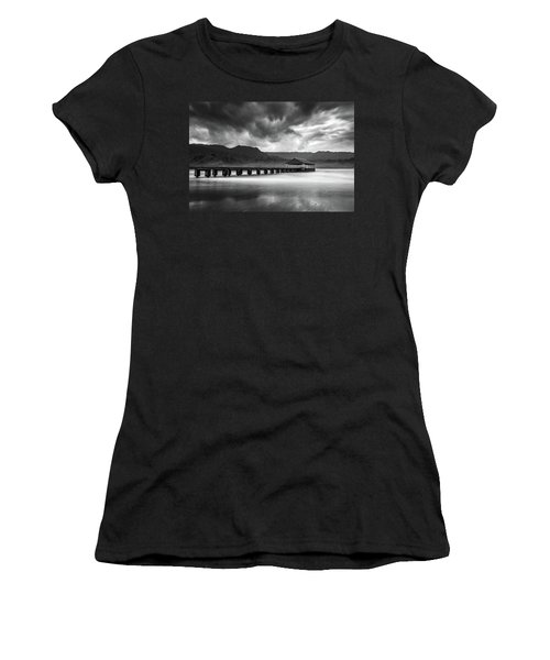 Hanalei Pier In Black And White Women's T-Shirt