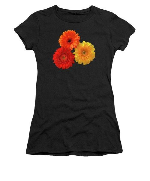 Happiness - Orange Red And Yellow Gerbera On Black Women's T-Shirt (Junior Cut) by Gill Billington