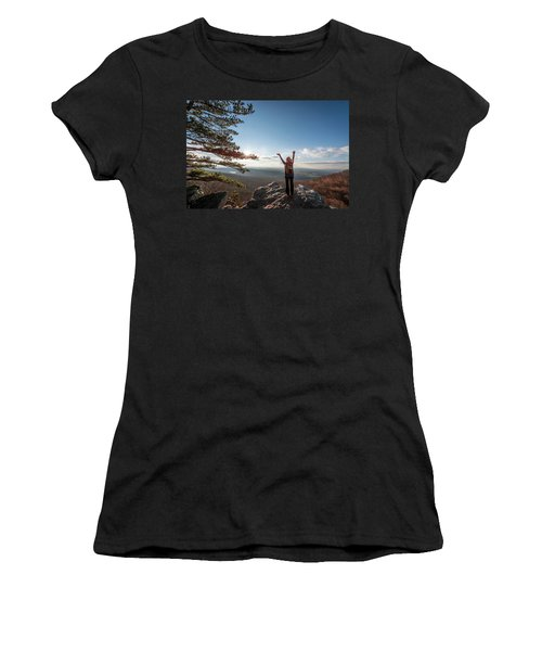 Happy Female Hiker At The Summit Of An Appalachian Mountain Women's T-Shirt