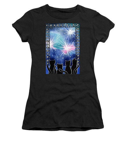 Women's T-Shirt (Athletic Fit) featuring the painting Happy New Year Black Cat Card by Dora Hathazi Mendes