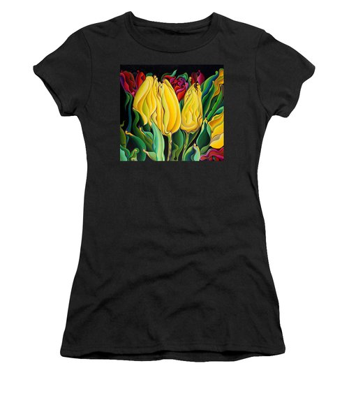 Happy-time Yellow Three-lips Women's T-Shirt (Athletic Fit)