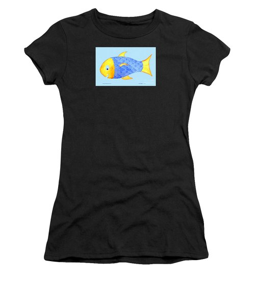 Happy Watercolor Fish Women's T-Shirt (Athletic Fit)