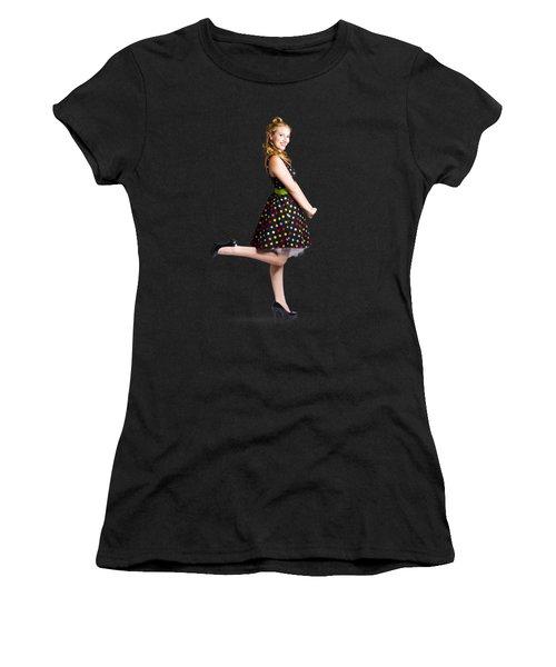 Happy Woman In Retro Dress Women's T-Shirt