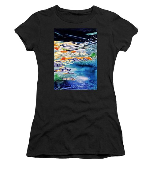 Harmony In Blue And Gold  Women's T-Shirt (Junior Cut) by Trudi Doyle