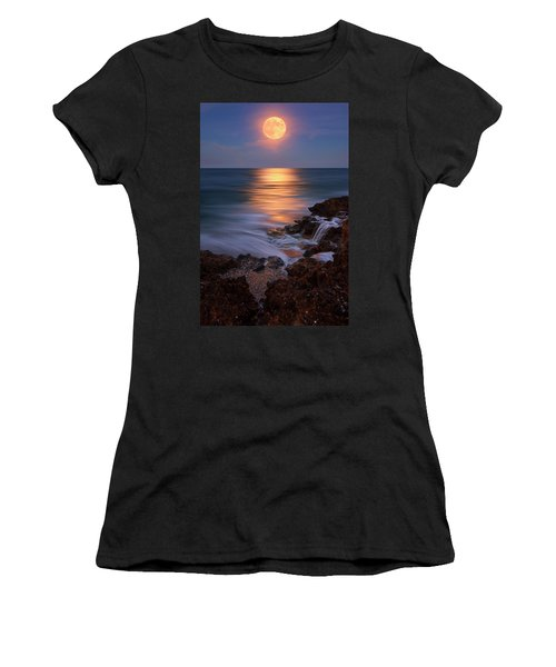 Harvest Moon Rising Over Beach Rocks On Hutchinson Island Florida During Twilight. Women's T-Shirt (Junior Cut) by Justin Kelefas