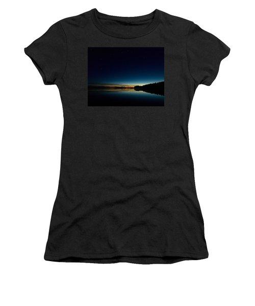Women's T-Shirt (Junior Cut) featuring the photograph Haukkajarvi By Night With Ursa Major 1 by Jouko Lehto