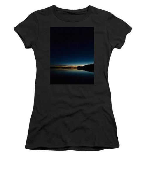 Women's T-Shirt (Junior Cut) featuring the photograph Haukkajarvi By Night With Ursa Major 2 by Jouko Lehto