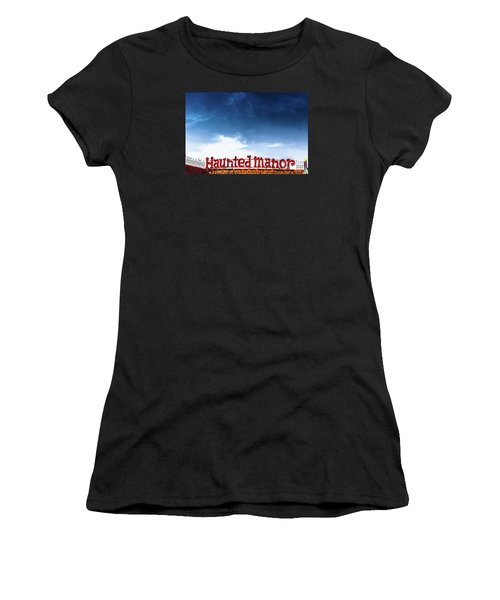 Women's T-Shirt (Junior Cut) featuring the photograph Haunted Manor  by Colleen Kammerer