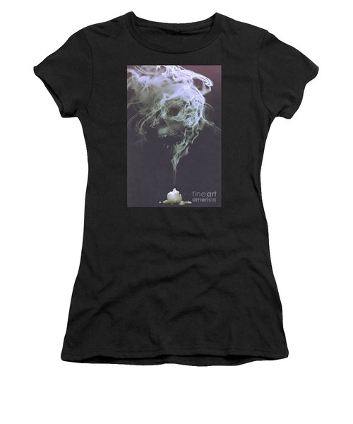Women's T-Shirt featuring the painting Haunted Smoke  by Tithi Luadthong