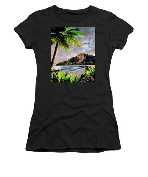 Hawaii Sunset Women's T-Shirt (Junior Cut) by Ron Chambers