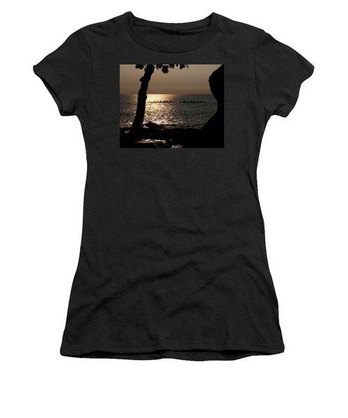 Hawaiian Dugout Canoe Race At Sunset Women's T-Shirt (Junior Cut) by Michael Bessler