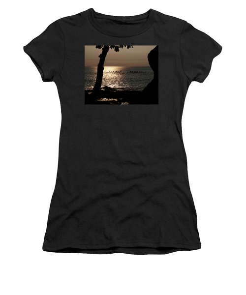 Hawaiian Dugout Canoe Race At Sunset Women's T-Shirt