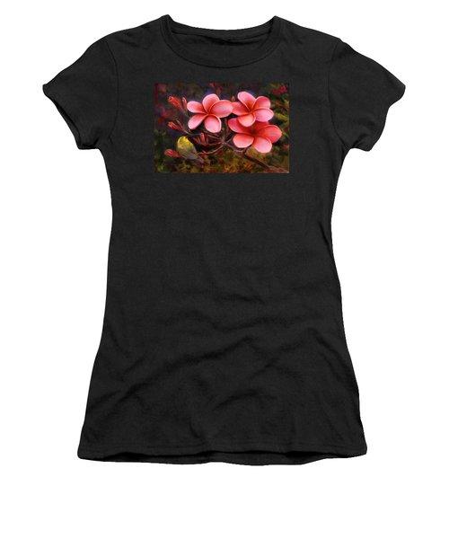 Hawaiian Pink Plumeria And Amakihi Bird Women's T-Shirt