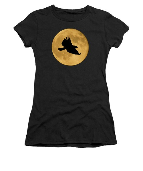 Hawk Flying By Full Moon Women's T-Shirt (Athletic Fit)