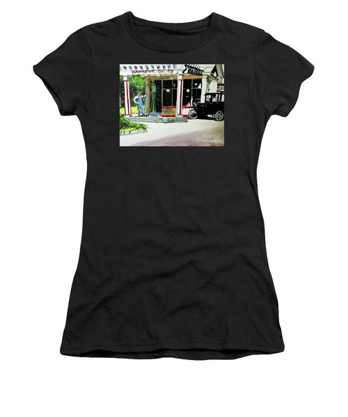 Women's T-Shirt (Junior Cut) featuring the painting Hawkeye Oil Co by Tom Riggs