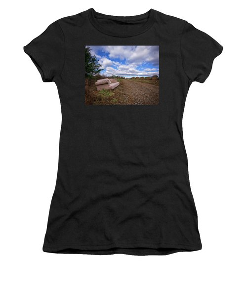 Women's T-Shirt (Athletic Fit) featuring the photograph Hay Sofa Sky by Alan Raasch
