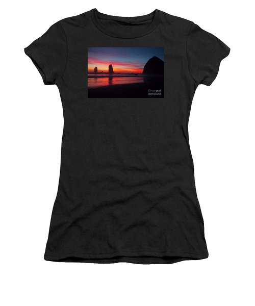 Haystack Rock At Sunset 2 Women's T-Shirt (Athletic Fit)