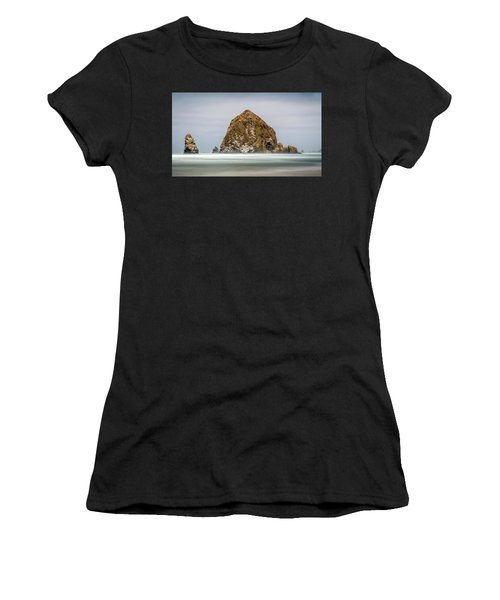 Women's T-Shirt featuring the photograph Haystack Rock Oregon by Pierre Leclerc Photography