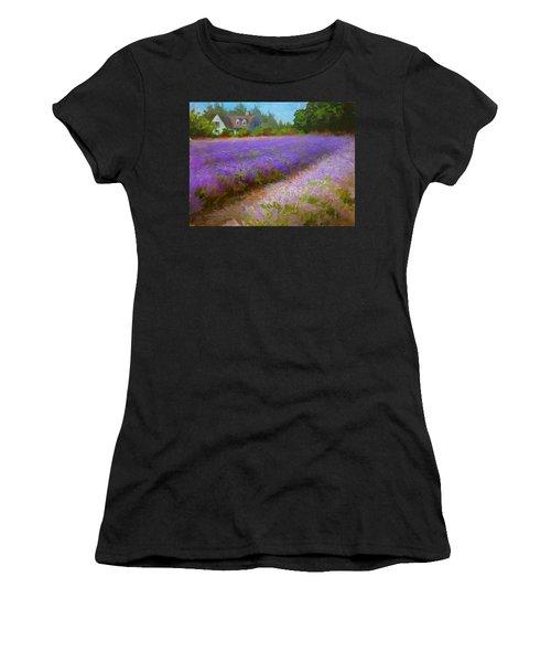 Impressionistic Lavender Field Landscape Plein Air Painting Women's T-Shirt
