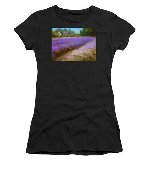 Impressionistic Lavender Field Landscape Plein Air Painting Women's T-Shirt (Athletic Fit)