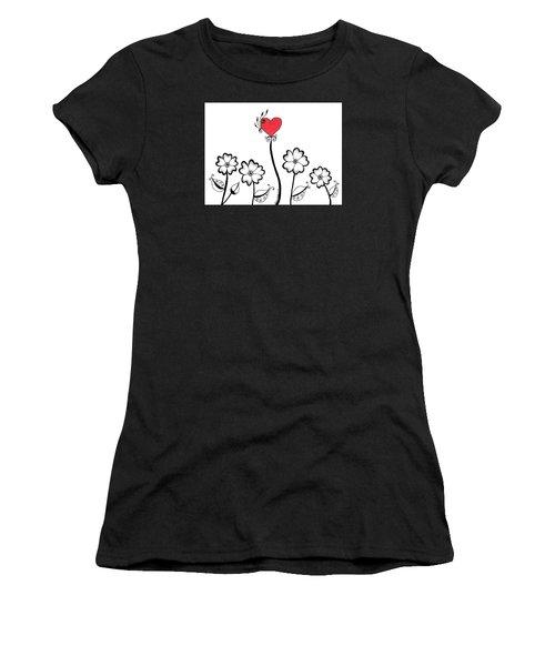 Heart Flower Women's T-Shirt (Athletic Fit)