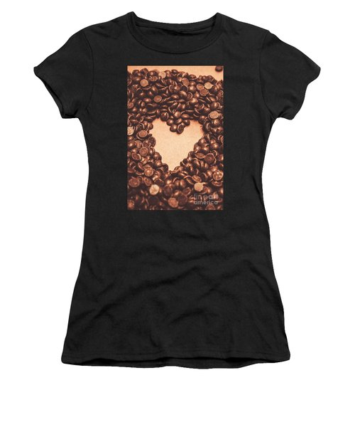 Hearts And Chocolate Drops. Valentines Background Women's T-Shirt