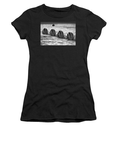 Helmets On Dew-covered Field At Dawn Black And White Women's T-Shirt