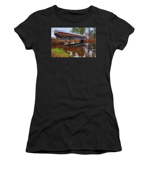 Hemlock Covered Bridge Fryeburg Maine Women's T-Shirt (Athletic Fit)