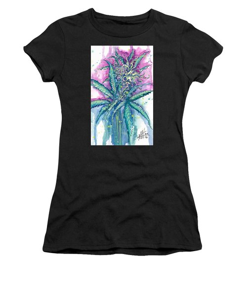 Women's T-Shirt featuring the painting Hemp Blossom by Ashley Kujan