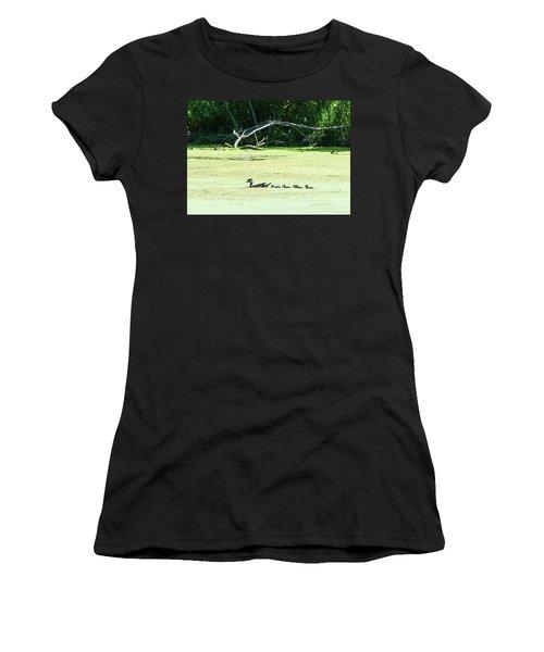 Hen And Baby Wood Ducks Women's T-Shirt (Junior Cut) by Edward Peterson