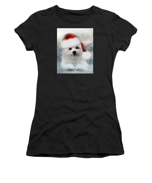 Hermes The Maltese At Christmas Women's T-Shirt (Athletic Fit)