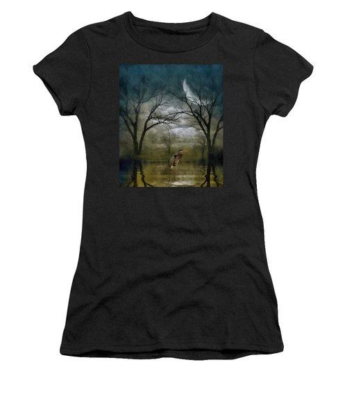 Heron By Moon Glow  Women's T-Shirt (Junior Cut) by Andrea Kollo