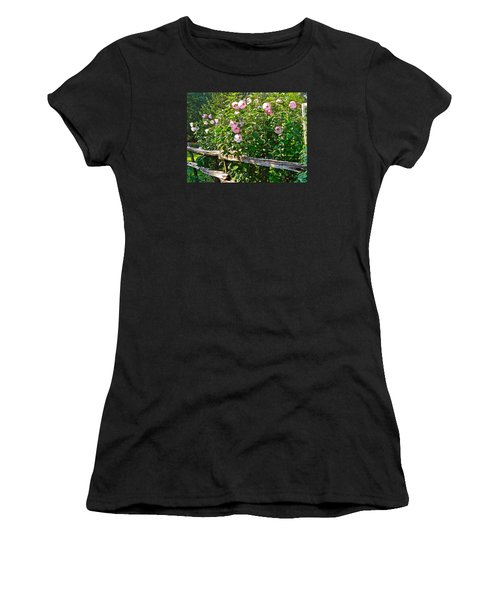 Women's T-Shirt (Junior Cut) featuring the photograph Hibiscus Hedge by Randy Rosenberger