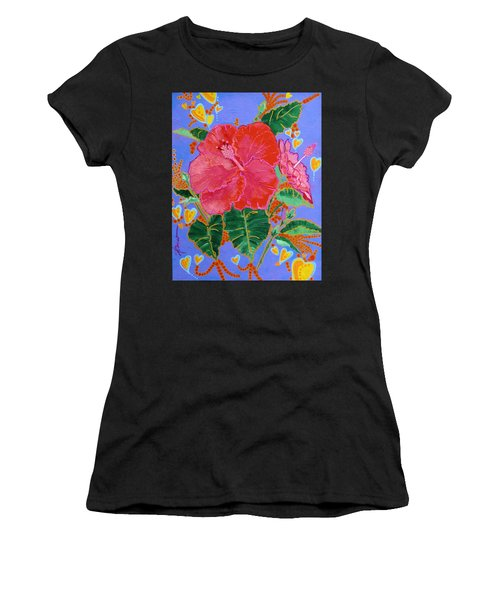 Hibiscus Motif Women's T-Shirt (Athletic Fit)