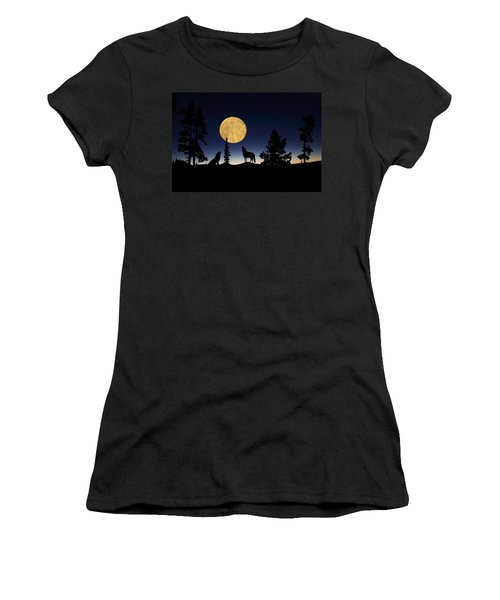 Hidden Wolves Women's T-Shirt (Athletic Fit)