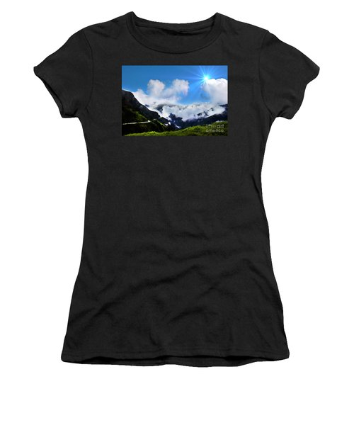 Women's T-Shirt (Junior Cut) featuring the photograph Highway Through The Andes - Painting by Al Bourassa
