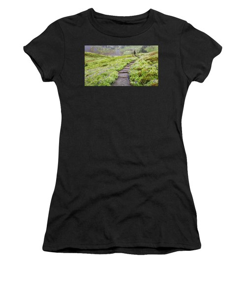 Women's T-Shirt featuring the photograph Hiking Mount Rainier In The Fog by Pierre Leclerc Photography