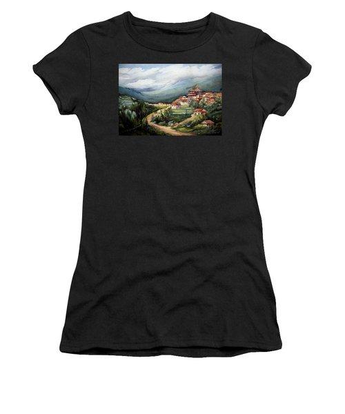 Women's T-Shirt (Junior Cut) featuring the painting Himalayan Village  by Samiran Sarkar
