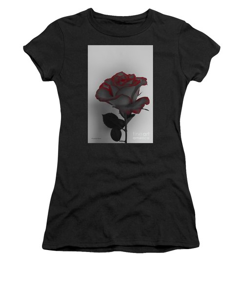 Hints Of Red- Single Rose Women's T-Shirt