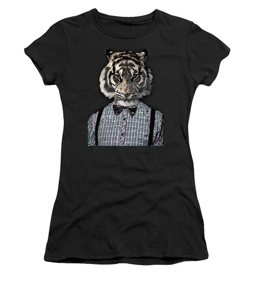 Hipster Tiger  Plaid Shirt Vintage Dictionary Art Beatnik Art Women's T-Shirt