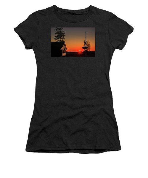 Historical Train Depot In Wayne Illinois Women's T-Shirt (Junior Cut) by Joni Eskridge