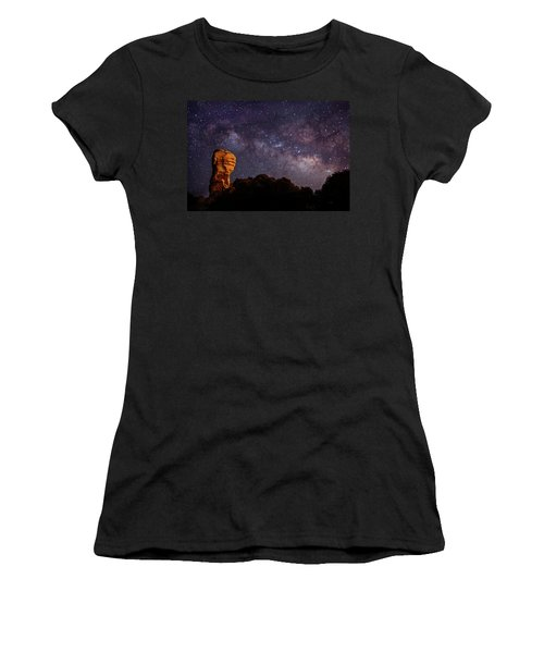 Hitchcock Pinnacle Nightscape -- Milky Way Women's T-Shirt (Athletic Fit)