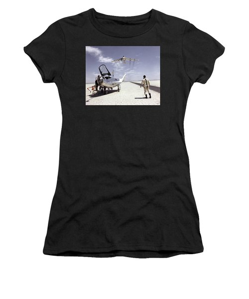 Hl-10 On Lakebed With B-52 Flyby Women's T-Shirt