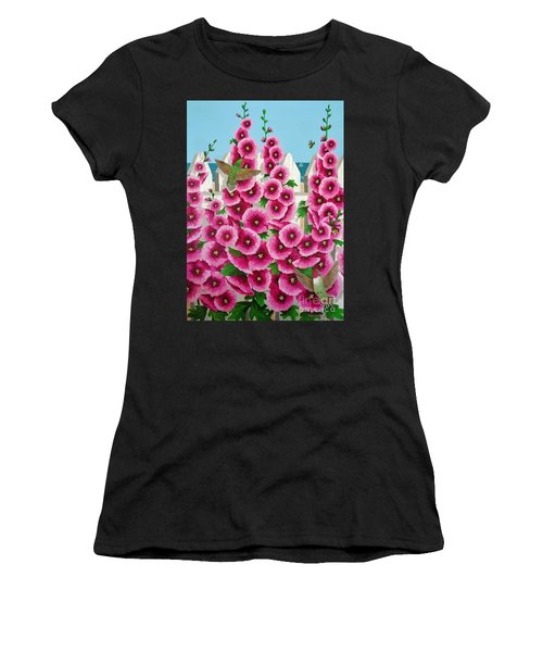 Hollyhocks And Humming Birds Women's T-Shirt (Athletic Fit)