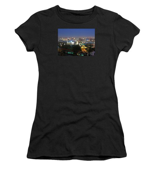 Women's T-Shirt (Junior Cut) featuring the photograph Hollywood Hills After Dark by Cheryl Del Toro