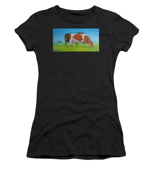 Holstein Friesian Cow And Brown Cow Women's T-Shirt (Athletic Fit)