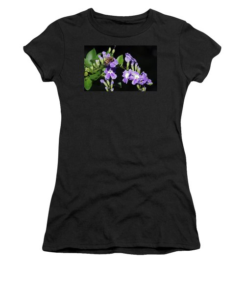 Women's T-Shirt (Junior Cut) featuring the photograph Honeybee On Golden Dewdrop II by Richard Rizzo
