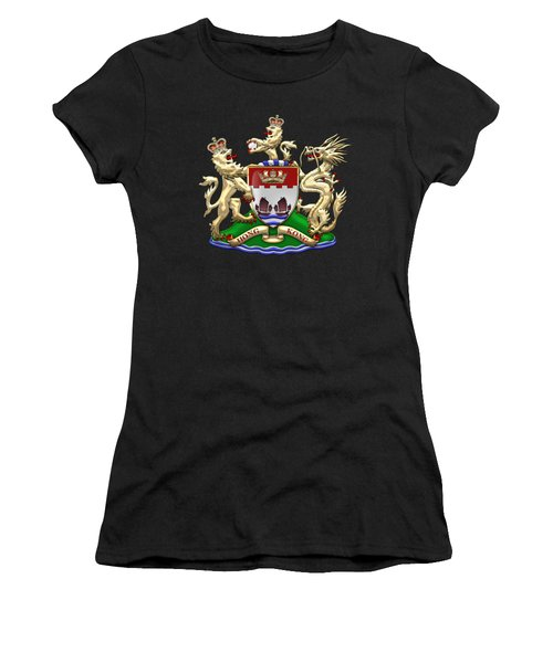 Hong Kong - 1959-1997 Coat Of Arms Over Black Leather  Women's T-Shirt (Junior Cut) by Serge Averbukh